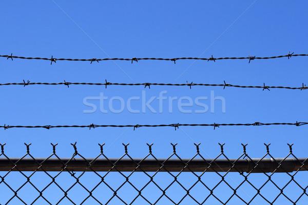 Stock fotó: Drót · kerítés · felső · lánc · láncszem · kék · ég