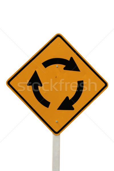 Geïsoleerd rotonde verkeersbord witte teken Geel Stockfoto © pancaketom