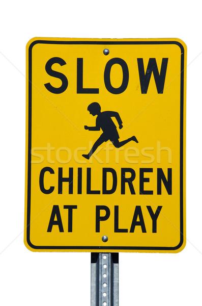 Vertragen kinderen spelen teken straat teken witte Stockfoto © pancaketom