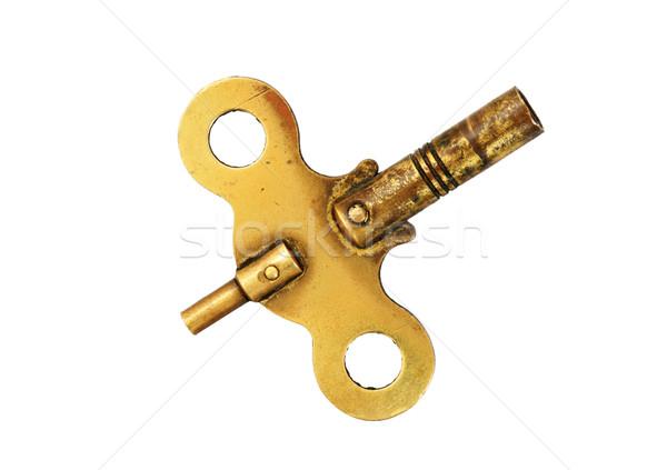 латунь часы ключевые антикварная изолированный белый Сток-фото © pancaketom
