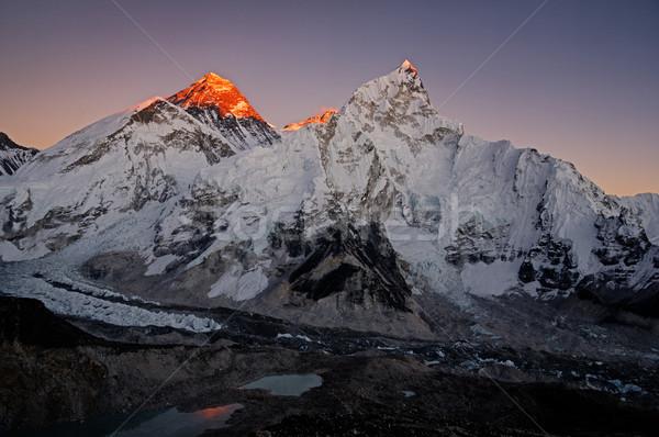 Utolsó fény Everest Nepál tájkép hegy Stock fotó © pancaketom