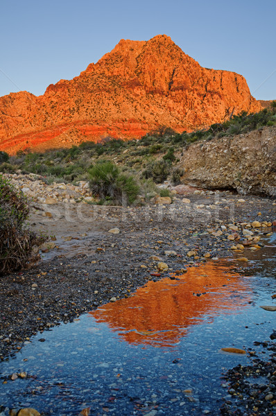 Red Rocks Mountain Reflection Stock photo © pancaketom