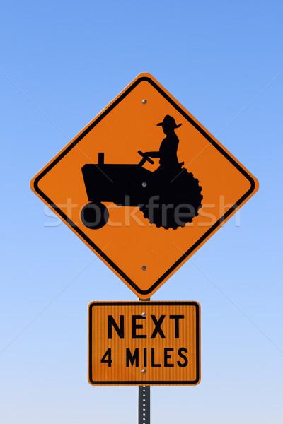 трактора знак человека предупреждение фермы Сток-фото © pancaketom