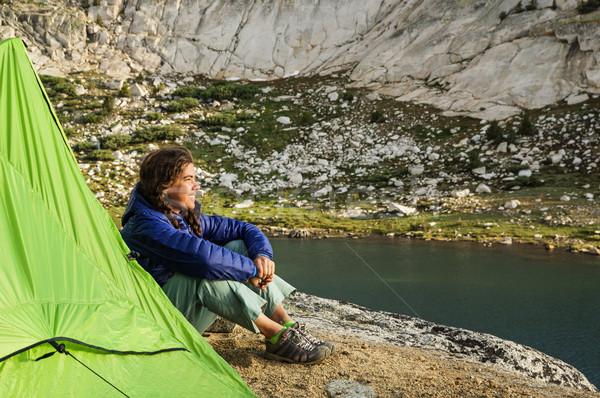 女性 を見て 日没 座って テント ストックフォト © pancaketom