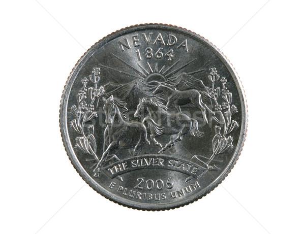 Yalıtılmış Nevada çeyrek sikke beyaz para Stok fotoğraf © pancaketom