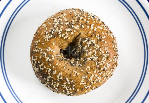 全粒小麦 ベーグル 白 プレート 青 リング ストックフォト © pancaketom