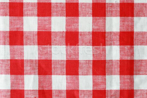 Rot weiß Tischdecke Textur Hintergrund Texturen Stock foto © pancaketom