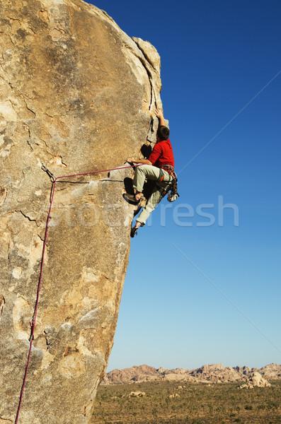 Fa hegymászás férfi kő piros kő Stock fotó © pancaketom