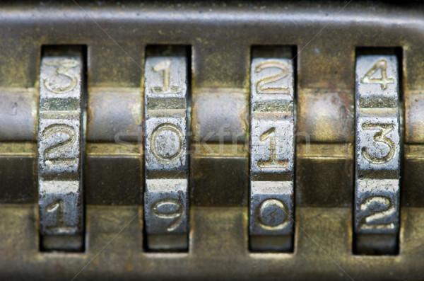Foto d'archivio: 2013 · serratura · a · combinazione · ottone · numero · set · lock