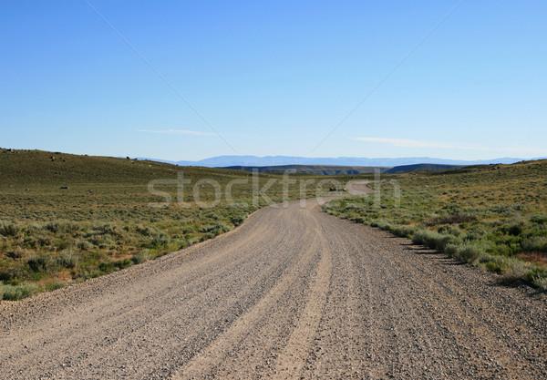Kavicsút dombok Wyoming kék kék ég kosz Stock fotó © pancaketom