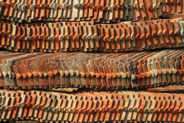 Tegels keramische omhoog tempel restauratie Stockfoto © pancaketom