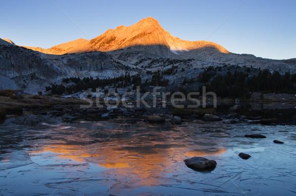 ледяной горные озеро отражение север пейзаж Сток-фото © pancaketom
