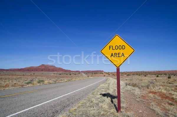 Flood Area Sign in Desert Stock photo © pancaketom