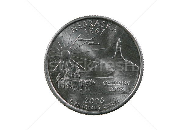 Isolato Nebraska trimestre moneta bianco sole Foto d'archivio © pancaketom