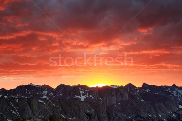 Hegy naplemente szél folyó terjedelem Wyoming Stock fotó © pancaketom