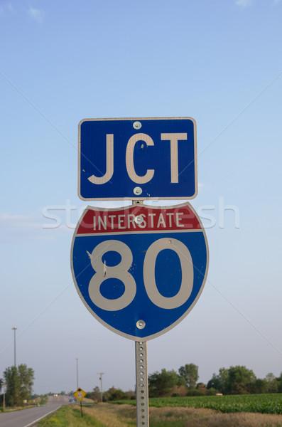 Zwischenstaatlichen 80 Zeichen Kreuzung ländlichen Ackerland Stock foto © pancaketom