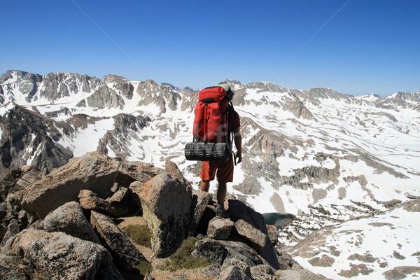 backpacker on mountain Stock photo © pancaketom