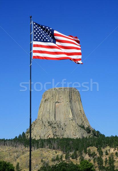 US flag at devils tower Stock photo © pancaketom