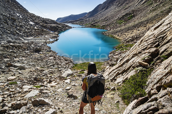 Woman Mountain Backpacker Stock photo © pancaketom