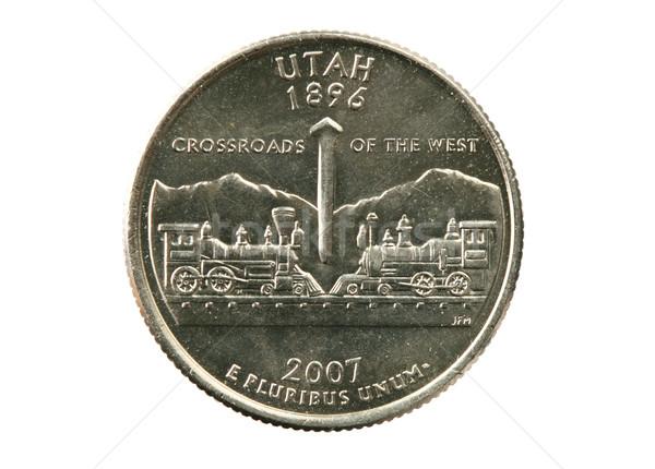 ユタ州 四半期 孤立した 白 コイン 銀 ストックフォト © pancaketom