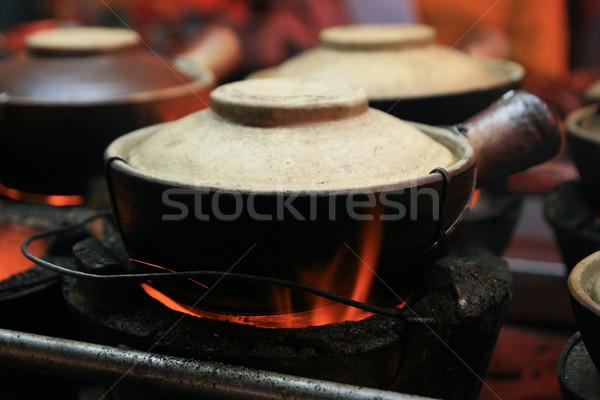 粘土 ポット 料理 通り クアラルンプール マレーシア ストックフォト © pancaketom