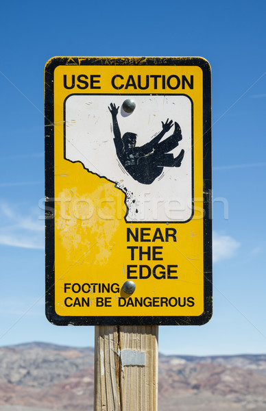 Caution Edge Sign Stock photo © pancaketom
