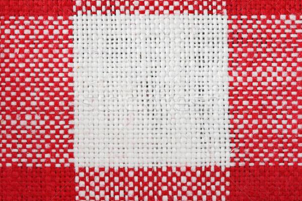 Stok fotoğraf: Kırmızı · beyaz · masa · örtüsü · makro · kare