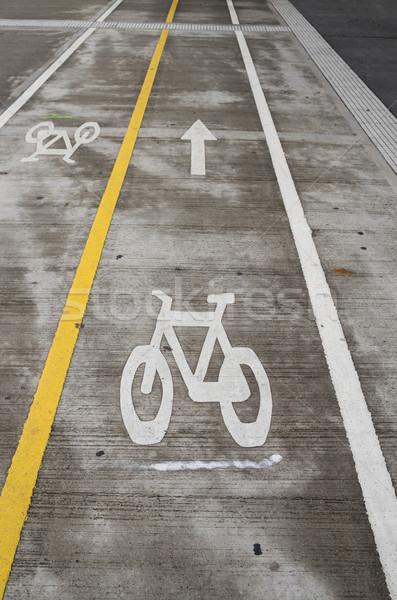Stock fotó: Bicikli · sáv · különálló · utca