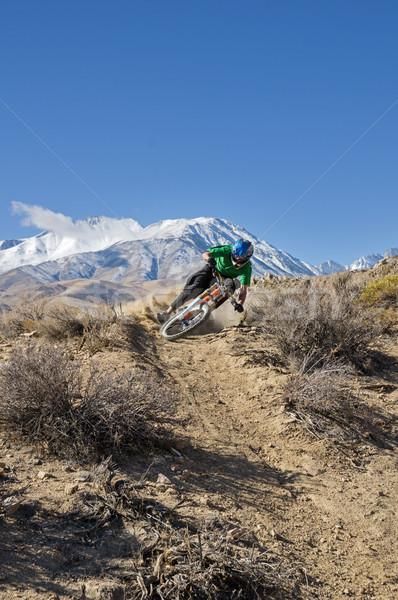 Mountain Biker Leans Into Turn Stock photo © pancaketom