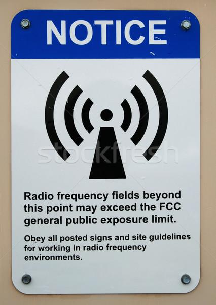 Radio velden frequentie teken Blauw Stockfoto © pancaketom