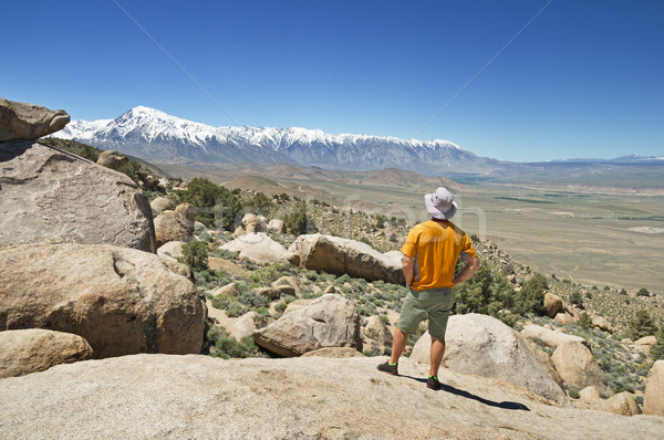 Man Looking At Mountains Stock photo © pancaketom