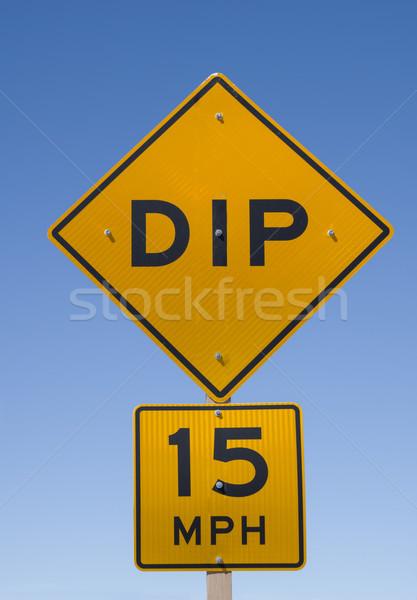 Salsa senalización de la carretera 15 mph cielo azul Foto stock © pancaketom