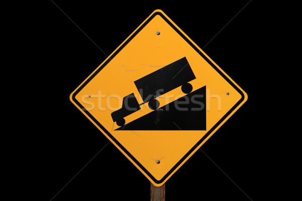 крутой дорожный знак грузовика вождения вниз черный Сток-фото © pancaketom