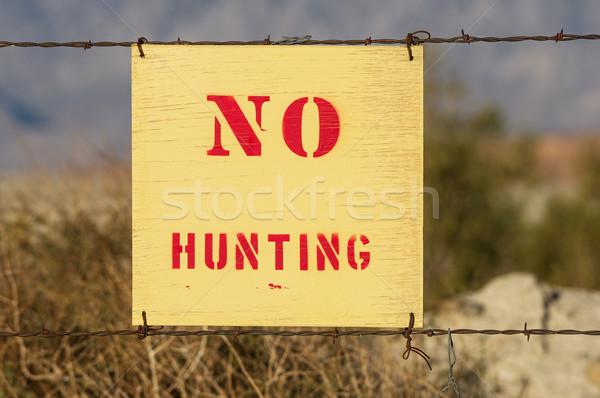 Nem vadászat felirat fa szögesdrót kerítés Stock fotó © pancaketom