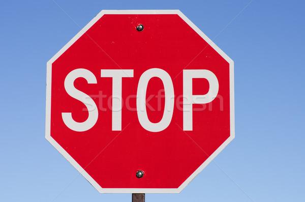 Dur işareti Metal gönderemezsiniz mavi gökyüzü imzalamak kırmızı Stok fotoğraf © pancaketom