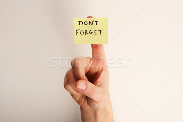 don't forget note on finger Stock photo © pancaketom