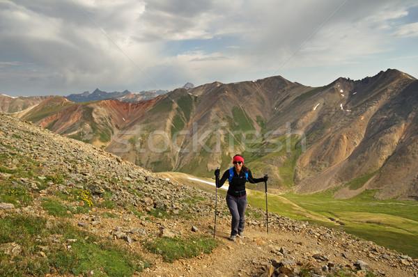 女性 ハイキング 山 アップ ピーク サンファン ストックフォト © pancaketom