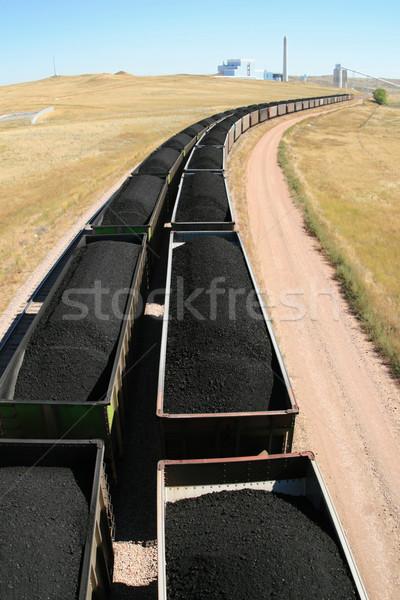 Carvão trem usina carros Foto stock © pancaketom