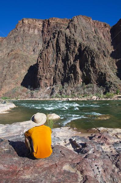 Uomo Grand Canyon fondo vista posteriore seduta rock Foto d'archivio © pancaketom