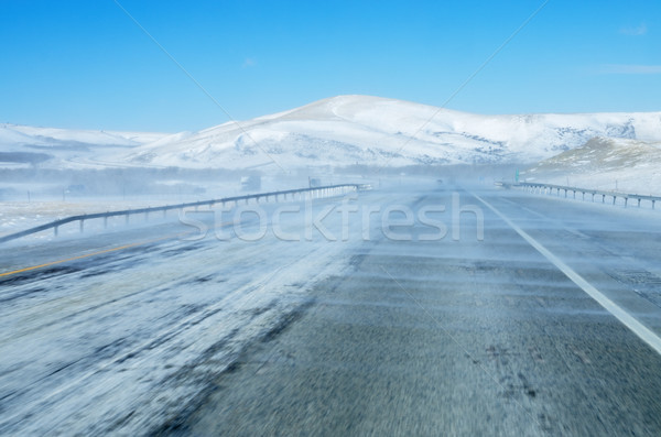 Neve rodovia interestadual 80 Wyoming Foto stock © pancaketom