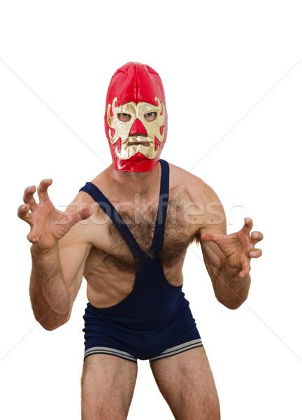 Professionele worstelaar masker worstelen witte Stockfoto © pancaketom