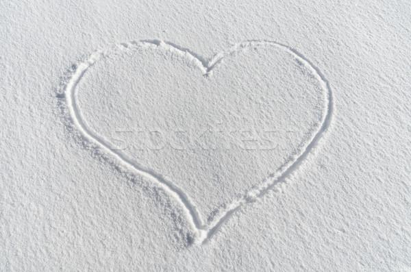 雪 中心 心臓の形態 図面 新鮮な 白 ストックフォト © pancaketom