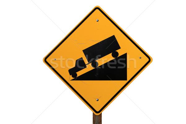 Steil verkeersbord vrachtwagen rijden beneden zwarte Stockfoto © pancaketom