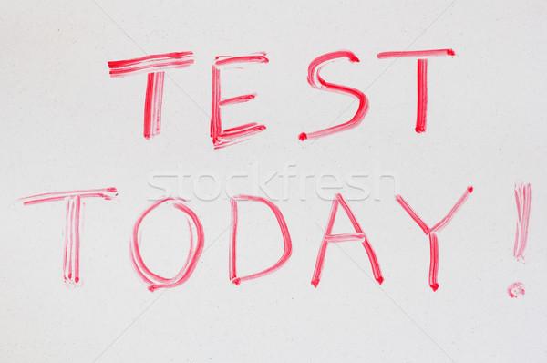 Teszt ma írott száraz fehér tábla piros Stock fotó © pancaketom