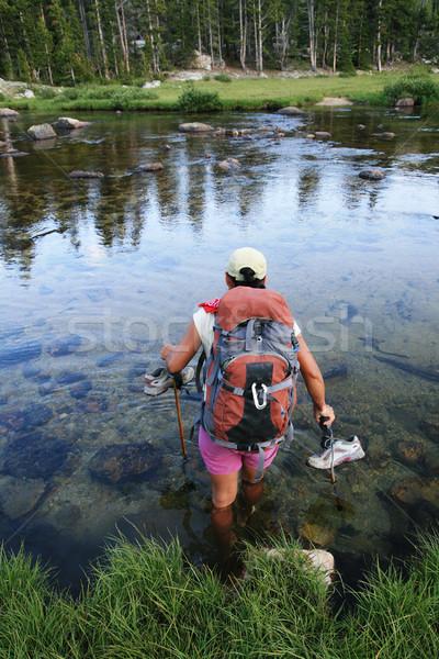 Kadın backpacker nehir rüzgâr kadın Stok fotoğraf © pancaketom