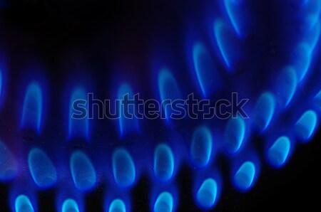 Tűzhely részlet benzin kék lángok sötét Stock fotó © pancaketom