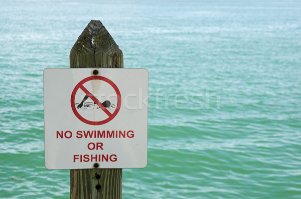 No Swimming Or Fishing Sign Stock photo © pancaketom