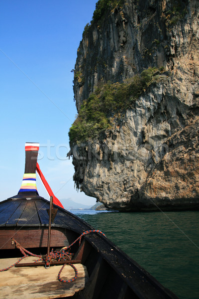 Thai boat front and cliffs Stock photo © pancaketom