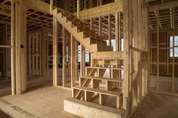 új ház építkezés belső védtelen épület fa Stock fotó © pancaketom
