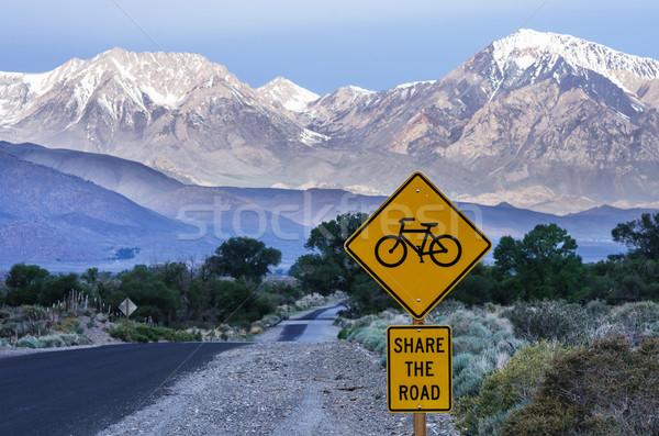 Stockfoto: Weg · fietsen · teken · landelijk · leidend · vallei